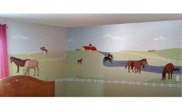 Girls love horses  An L shaped wall corner of a bedroom came to life with  horse pastures  fencing  a distant barn  eight horses and two equestrian  riders. Horse Mural   Michelle Shuff