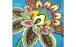 Ornamental Floral on Blue