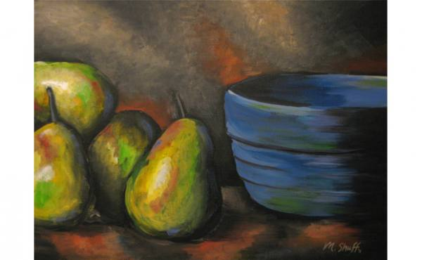 Pears & Blue Bowl
